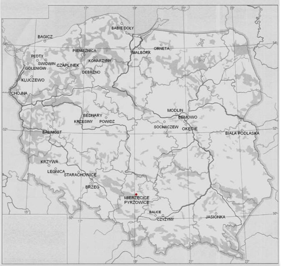 Lotnisko Mierzęcice Pyrzowice na mapie Polski. 2011 rok.