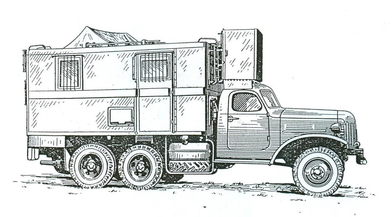 ARP-4 w pozycji do jazdy. Źródło: Awtomaticzeskie ukw radiopelengatory ARP-4, ARP-5, ARP-1. Opisanie i instrukcja po ekspluatacji