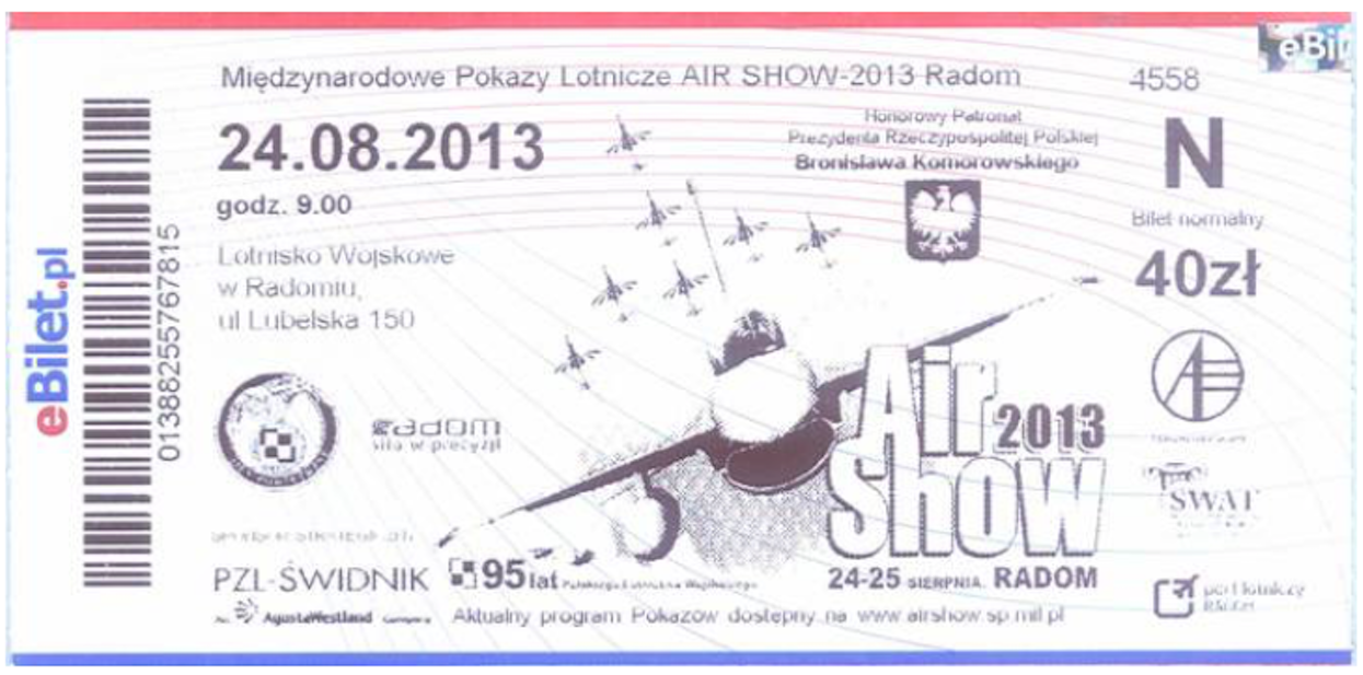 Bilet na Air Show 2013 Radom