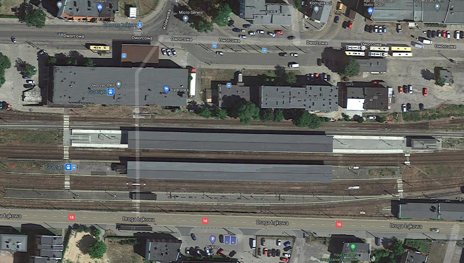 Dworzec kolejowy Grudziądz. 2021 rok. Zdjęcie Google