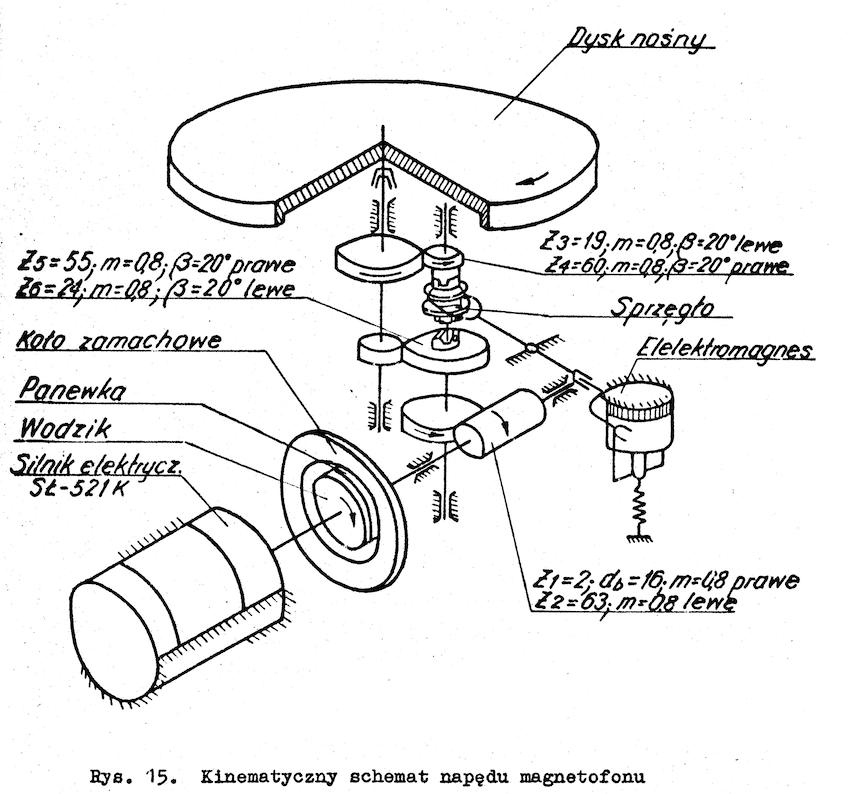 Magnetofon P-181 schemat napędu rysunek z instrukcji