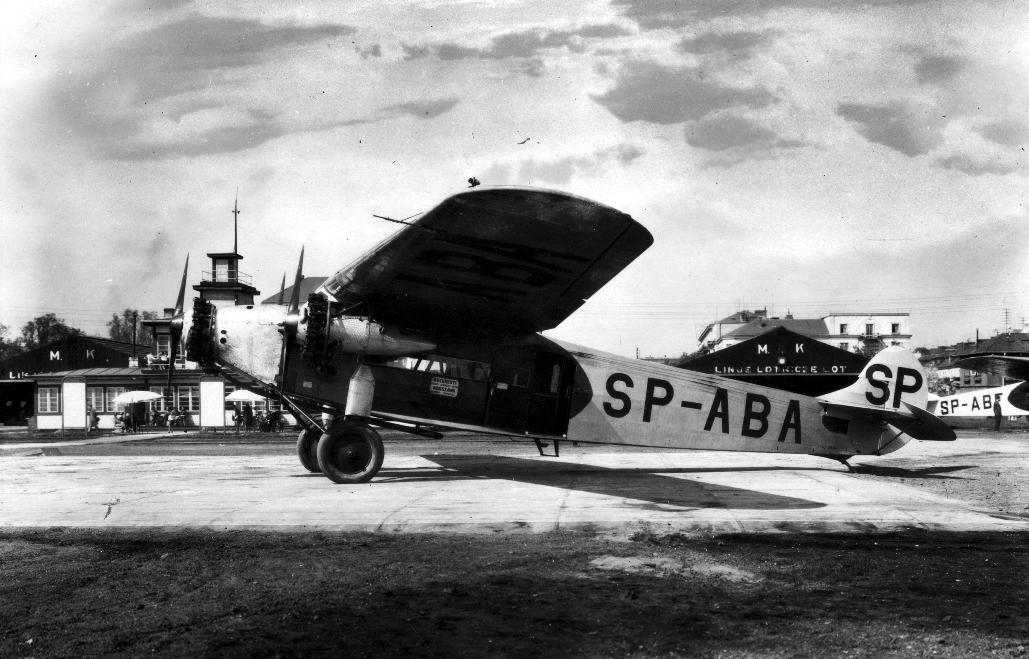 Fokker F.VII/3m SP-ABA na Lotnisku Mokotów. Zdjęcie LAC