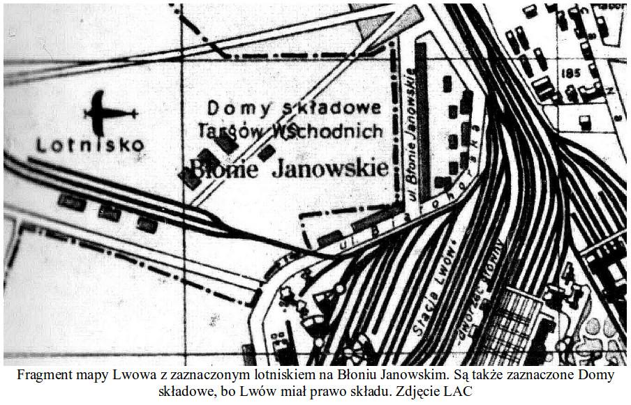 Lotnisko Lewandowska na dawnej mapie. Zdjęcie LAC
