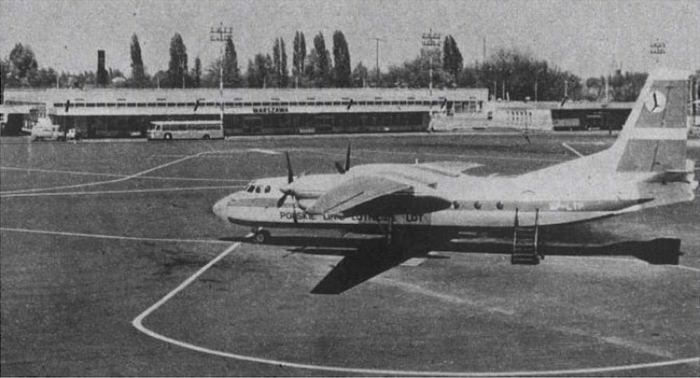 An-24 SP-LTP No. 67302802 Poprad's own name on the apron in front of the National Air Station at 17 Stycznia Street. 1975 year. Photo of LAC